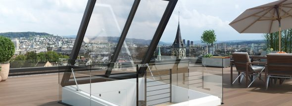 Henke Dachdeckerei   Zimmerei   SOlartechnik für Schaumburg - LAMILUX Quadratischer Ausstieg ermöglicht Wendeltreppe zur Dachterrasse