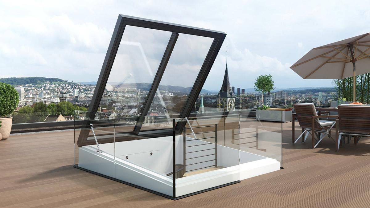 Henke Dachdeckerei | Zimmerei | SOlartechnik für Schaumburg - LAMILUX Quadratischer Ausstieg ermöglicht Wendeltreppe zur Dachterrasse
